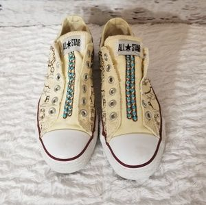 Converse Embroidered & Turquoise Stone Sneakers